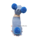 Blue Dog Sweater with Pom Pom Crochet Dog Hat Myknitt