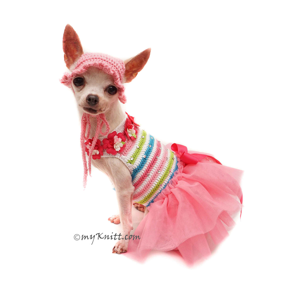 Pink Flower Dog Tutu With Matching Dog Sun Hat Crochet DF165 Myknitt