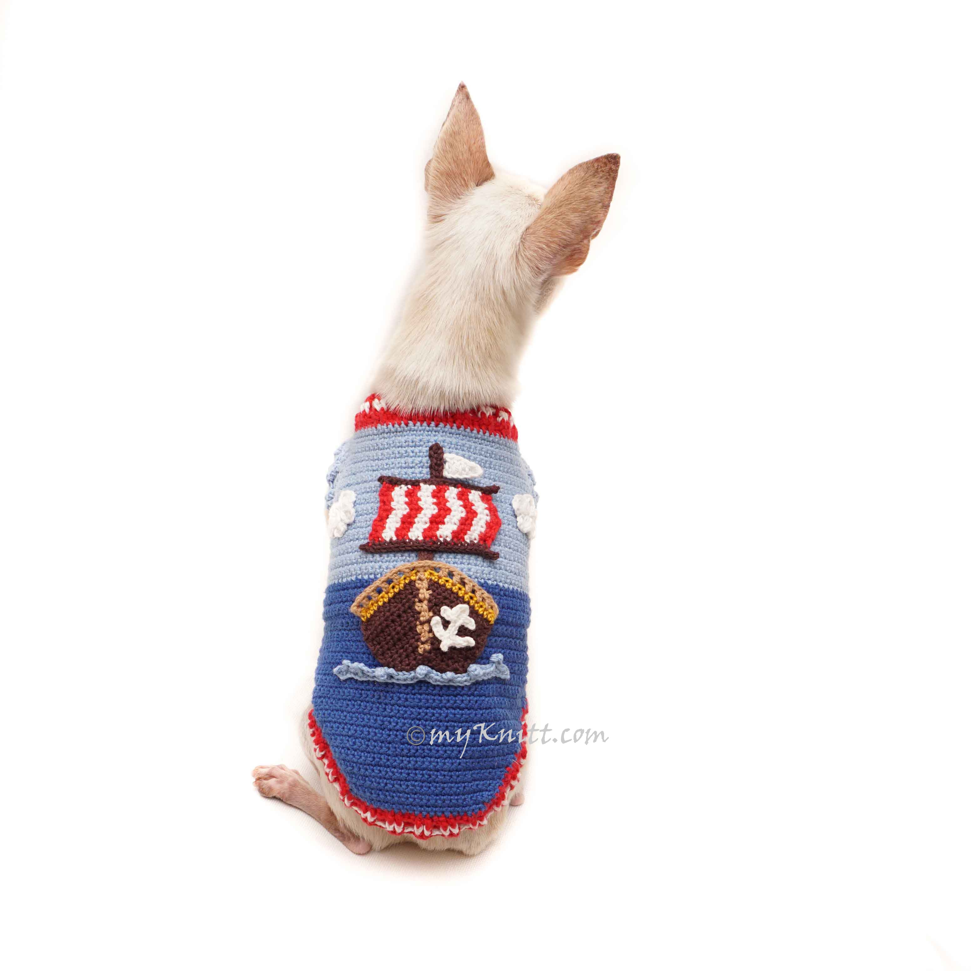 Aye Aye Captain Sailor Pirates Dog Costume Crochet DF167 Myknitt