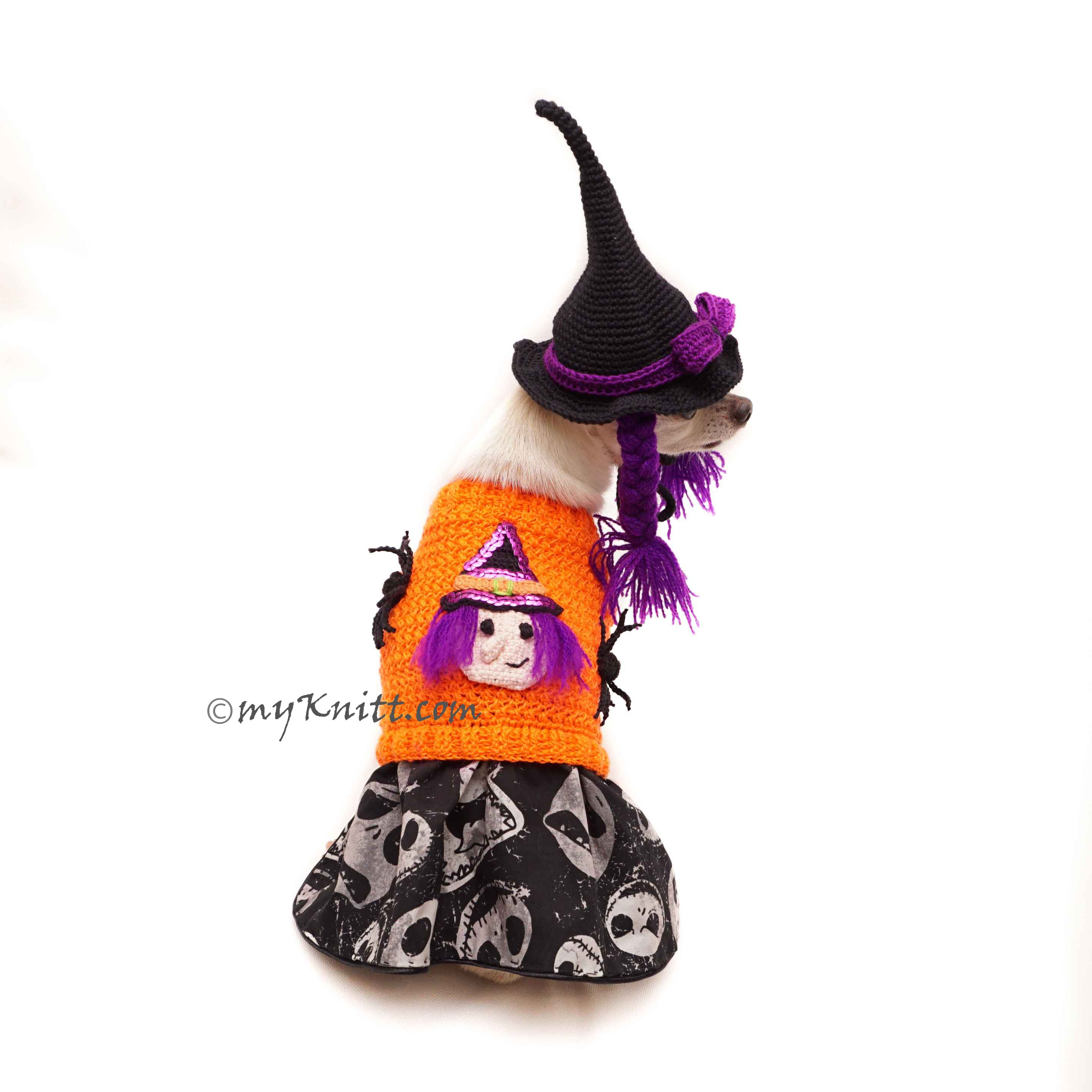 Cute Dog Clothes Witch Halloween, Witch Dog Hat Crochet DF168 Myknitt