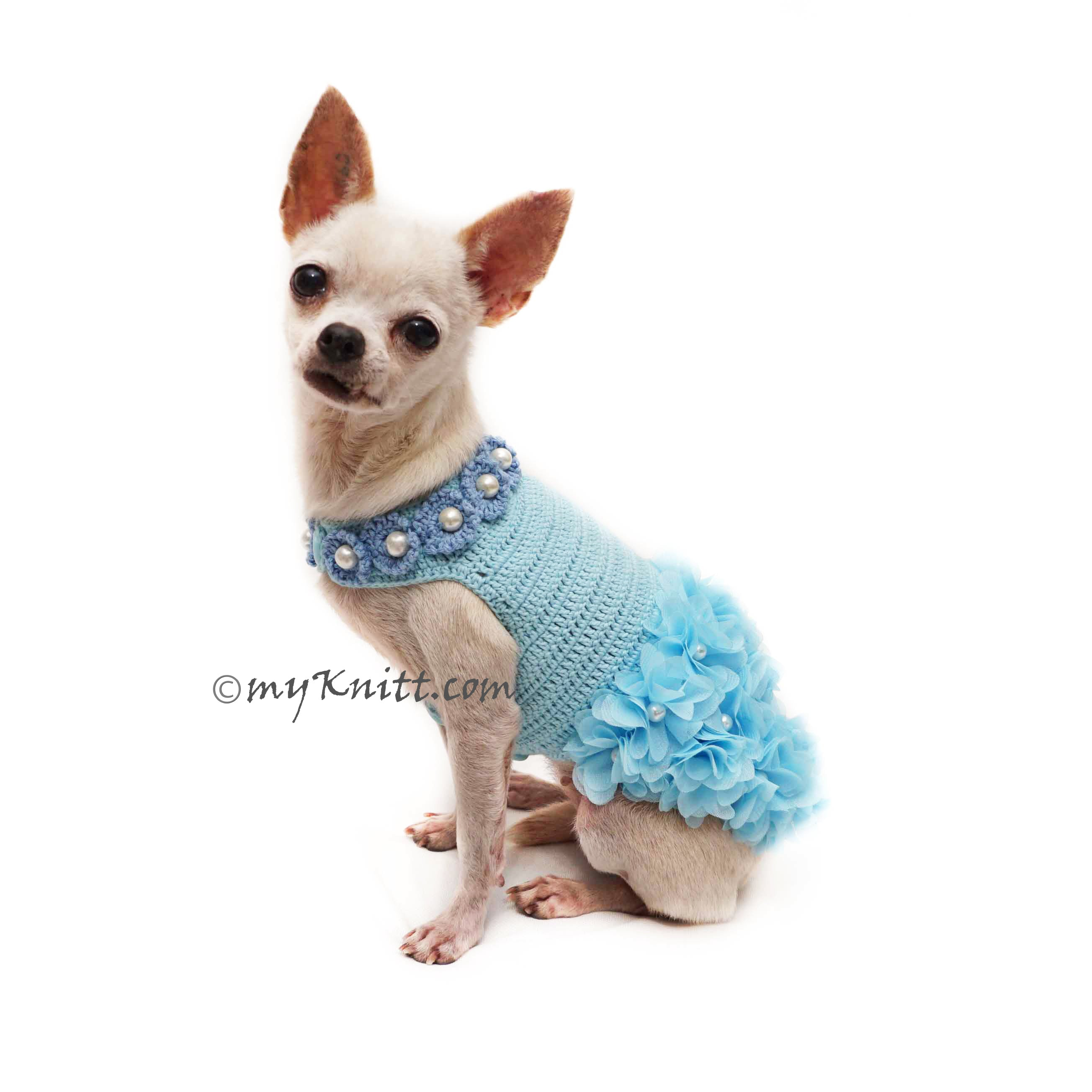 Hawaiian Baby Blue Dog Dress Crochet Myknitt