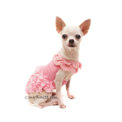 Pink Victorian Lace Dog Dress Crochet Flower DF178 Myknitt