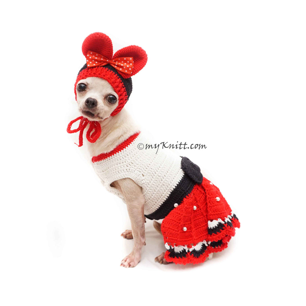 Minnie Pet Costume Crochet, Custom Dog Clothes, Cat Clothes DF183 Myknitt