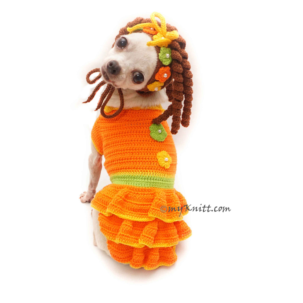 Orange Cheerful Pet Dress with Kinky Curly Pet Hat Crochet Handmade DF184 Myknitt
