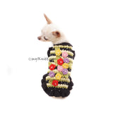 Black Dog Dress Crochet with Colorful Rosebuds and Crystal Df185 Myknitt