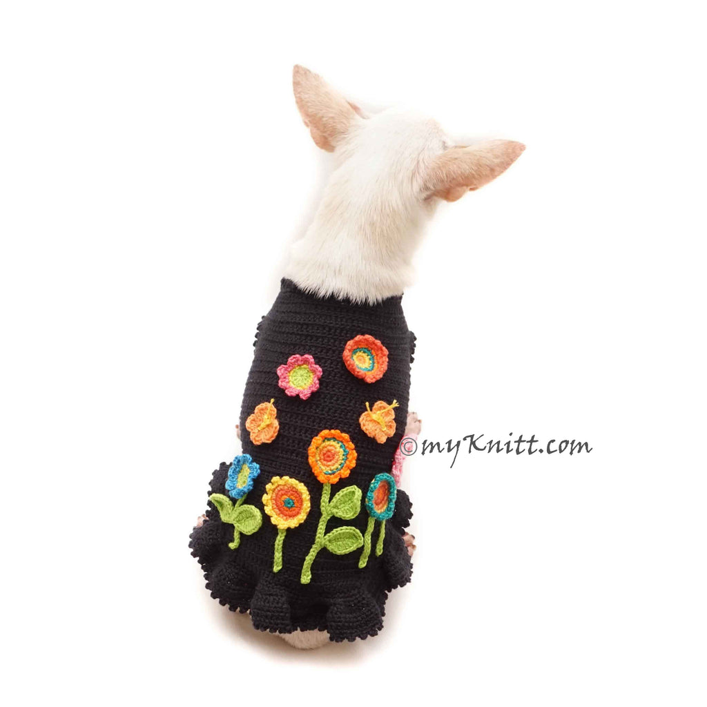 Flower Dog Dress Crochet, Black Dog Dress Flower Garden Crochet DF187 Myknitt