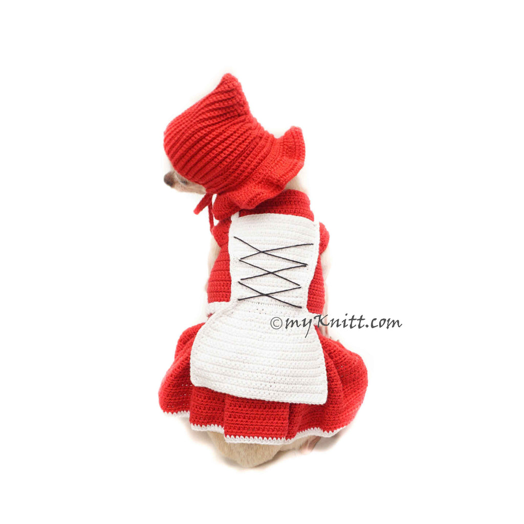 Funny Dog Costume Crochet Red Riding Hood DF188 Myknitt