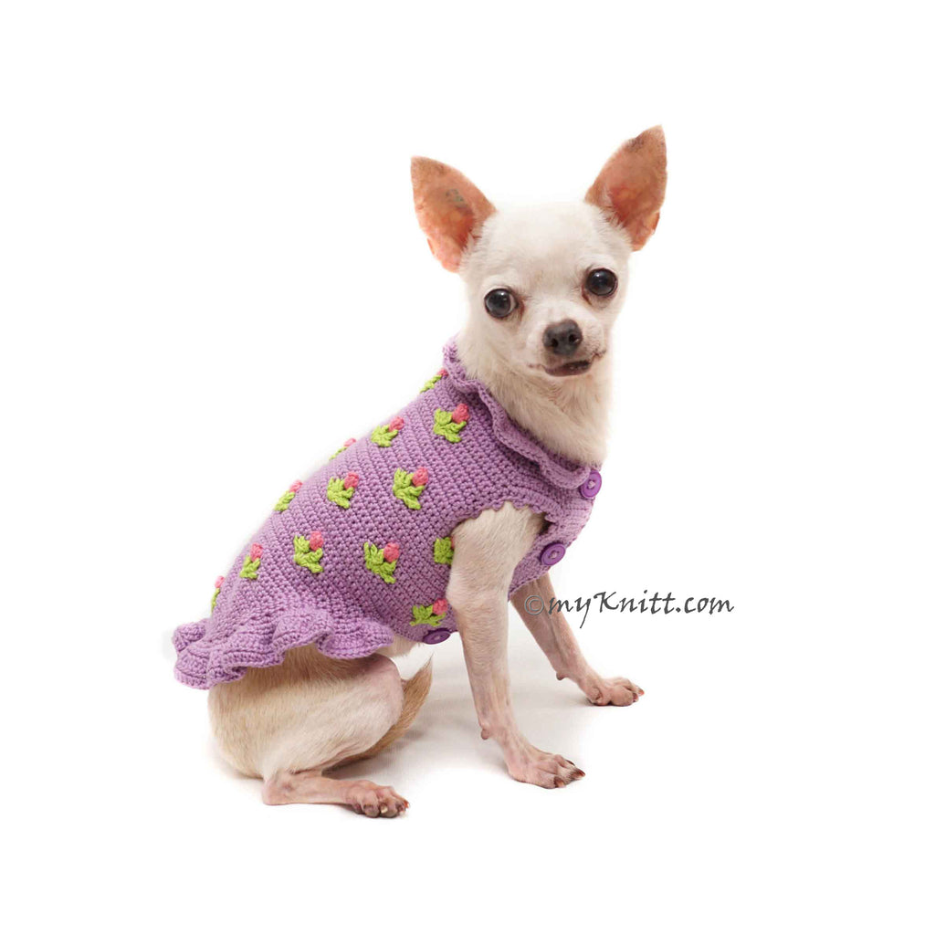 Dog Dress Purple Tulip Crochet, Simple Dog Dress Cotton DF189 Myknitt