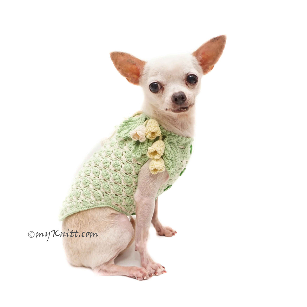 Calla lily Crochet Dog Dress Green Mint, Unique Flower Pet Dress DF190 Myknitt