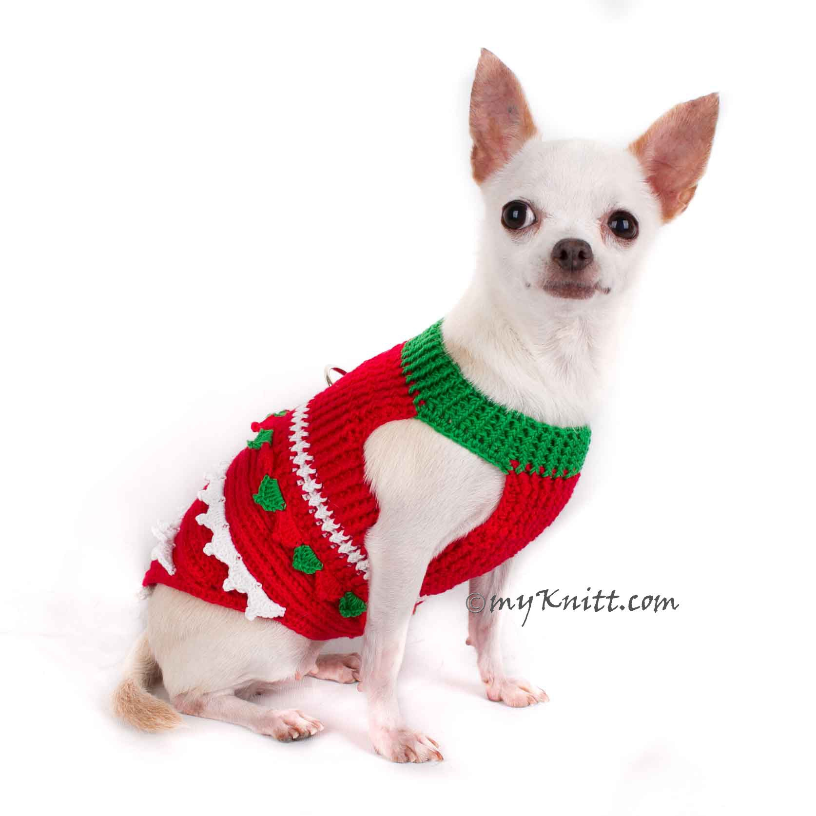 Christmas Tree Chihuahua Clothes Crochet Dog Sweater DF1 by Myknitt
