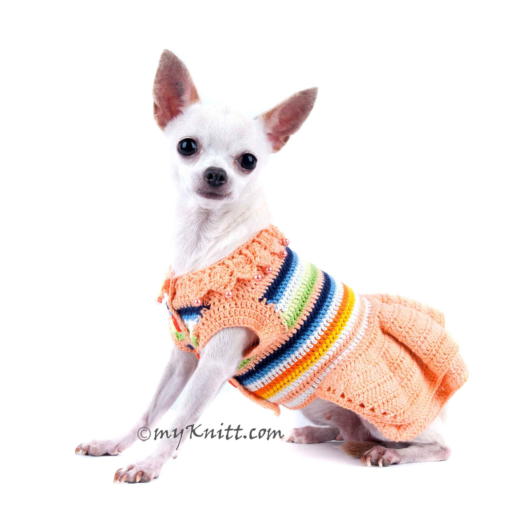 Spring Dog Dress Peach Colorful Crochet Cotton Wavy Skirts Chihuahua Clothes DF40