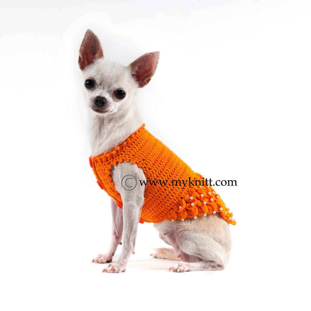 Orange Fancy Dog Dresses with Pearls Crocodile Crochet DF41