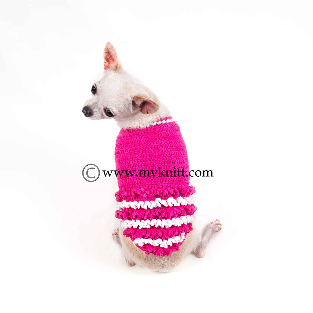 Pink Ruffle Dog Dresses White Princess Pet Costumes Hand Crochet DF44