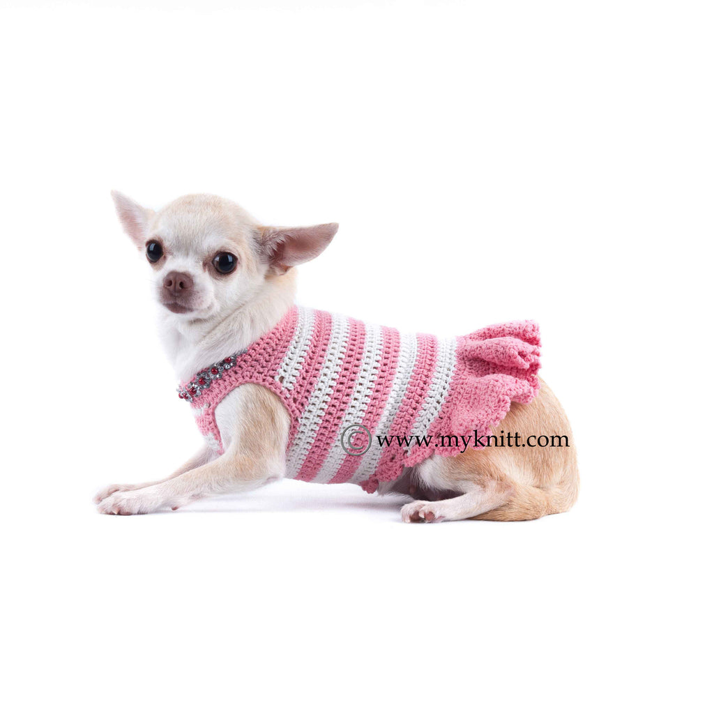 Soft Peach Pink Dog Dresses Striped Handmade Crochet with Flower Crystal DF45