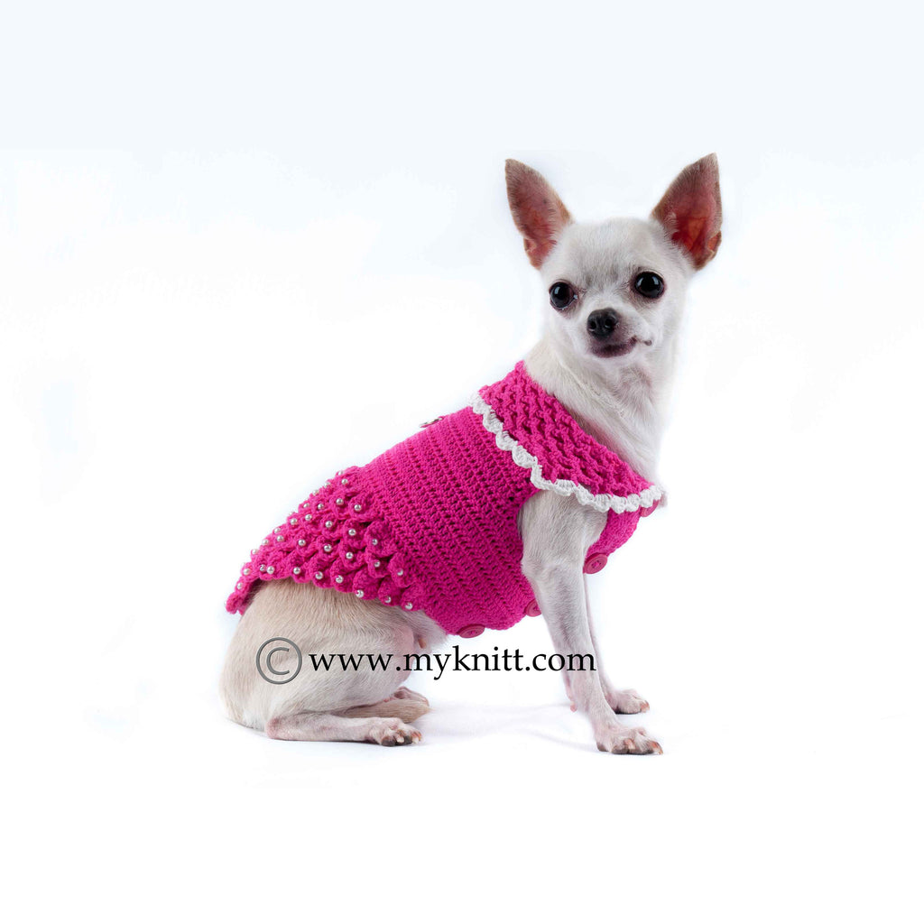 Pink Princess Dog Dresses with Pearls Crocodile Handmade Crochet DF46