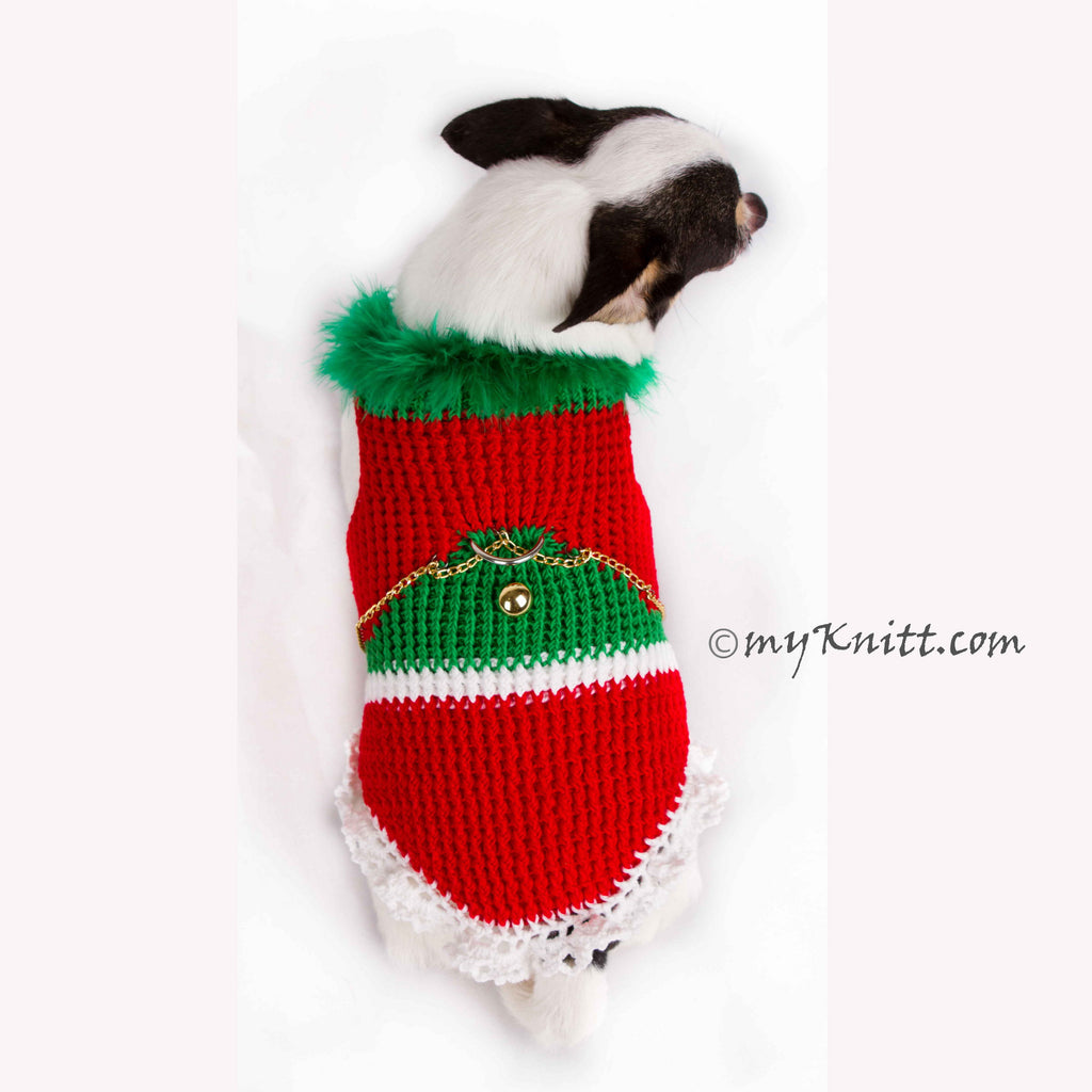 Christmas Tree Chihuahua Sweater with D Ring, Knitted Dog Clothes DF4