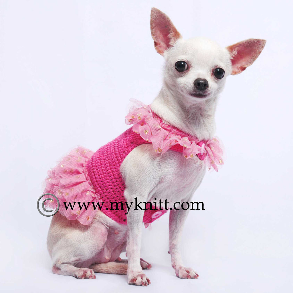 Barbie Chihuahua Clothes Ballerina Pink Dog Dresses Crochet  DF50