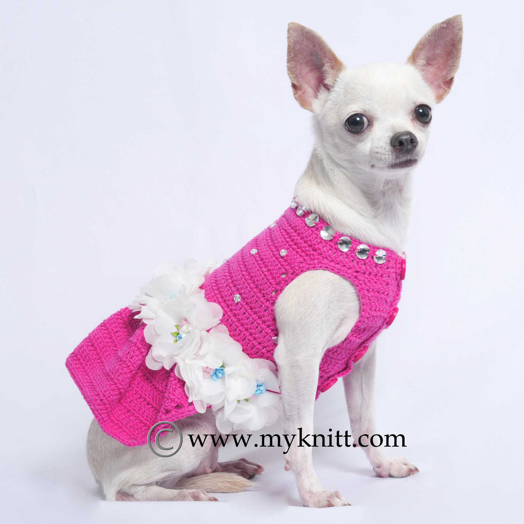 Pink Dog Dresses with Bling-Bling Crystal and Flowers Crochet DF51