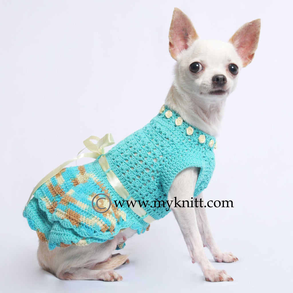 Turquoise Dog Dresses Ball Gown Hand Crochet Pet Costumes DF52