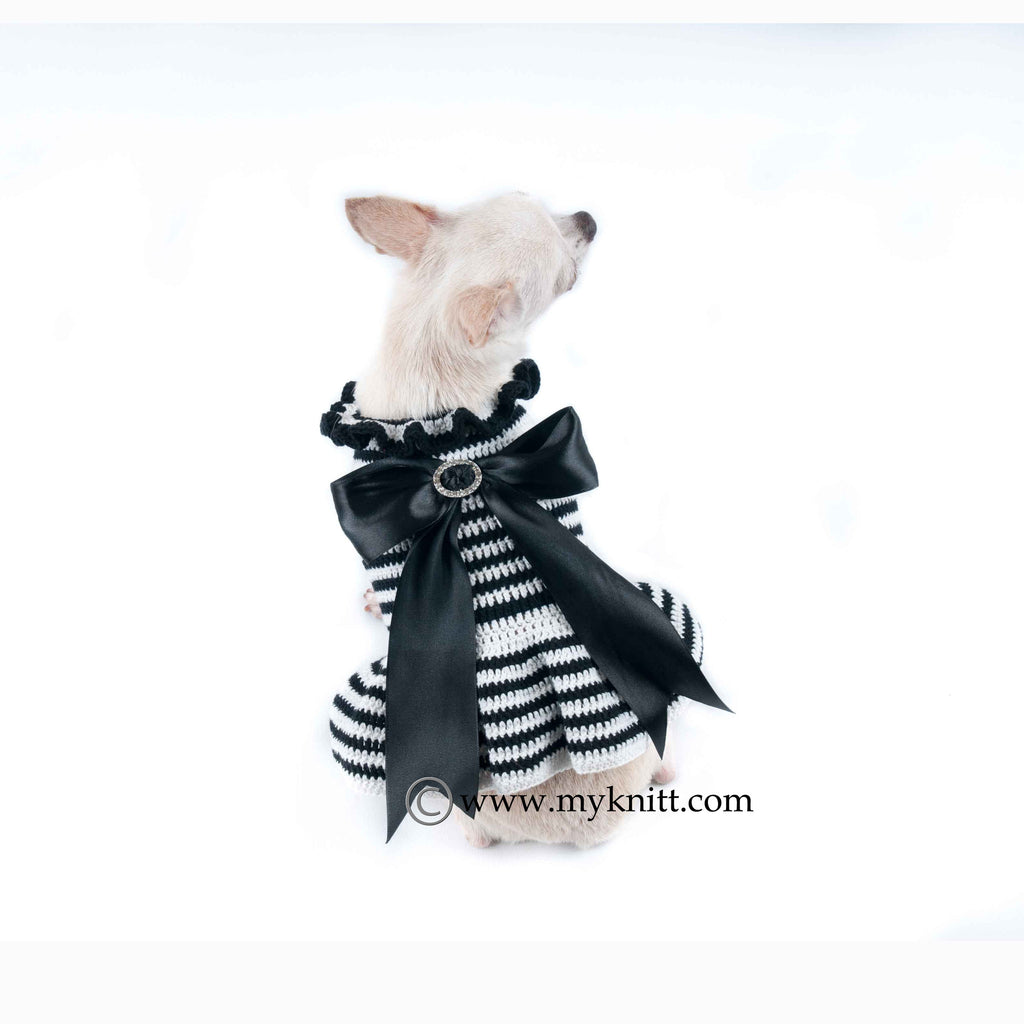 Black and White Dog Dresses with Lace Bow Handmade Crochet DF54