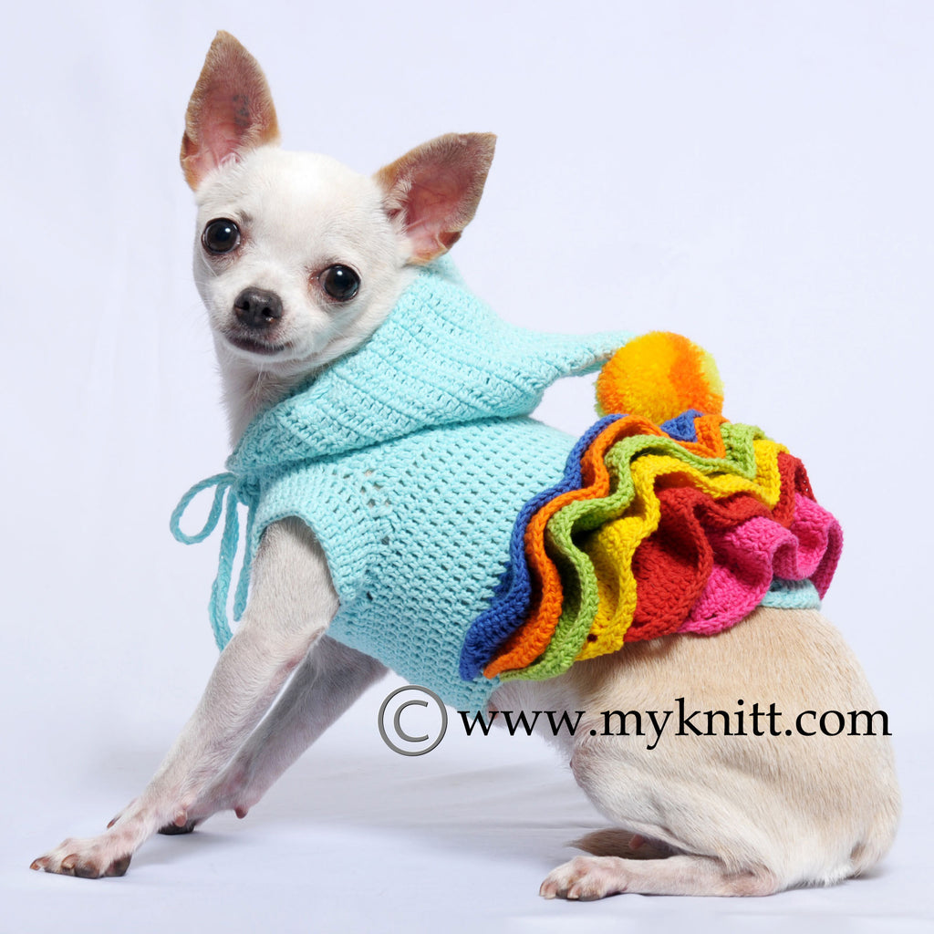 Cute Colorful Wavy Skirts Dog Hoodie with Pom-Pom Hand Crochet DF55