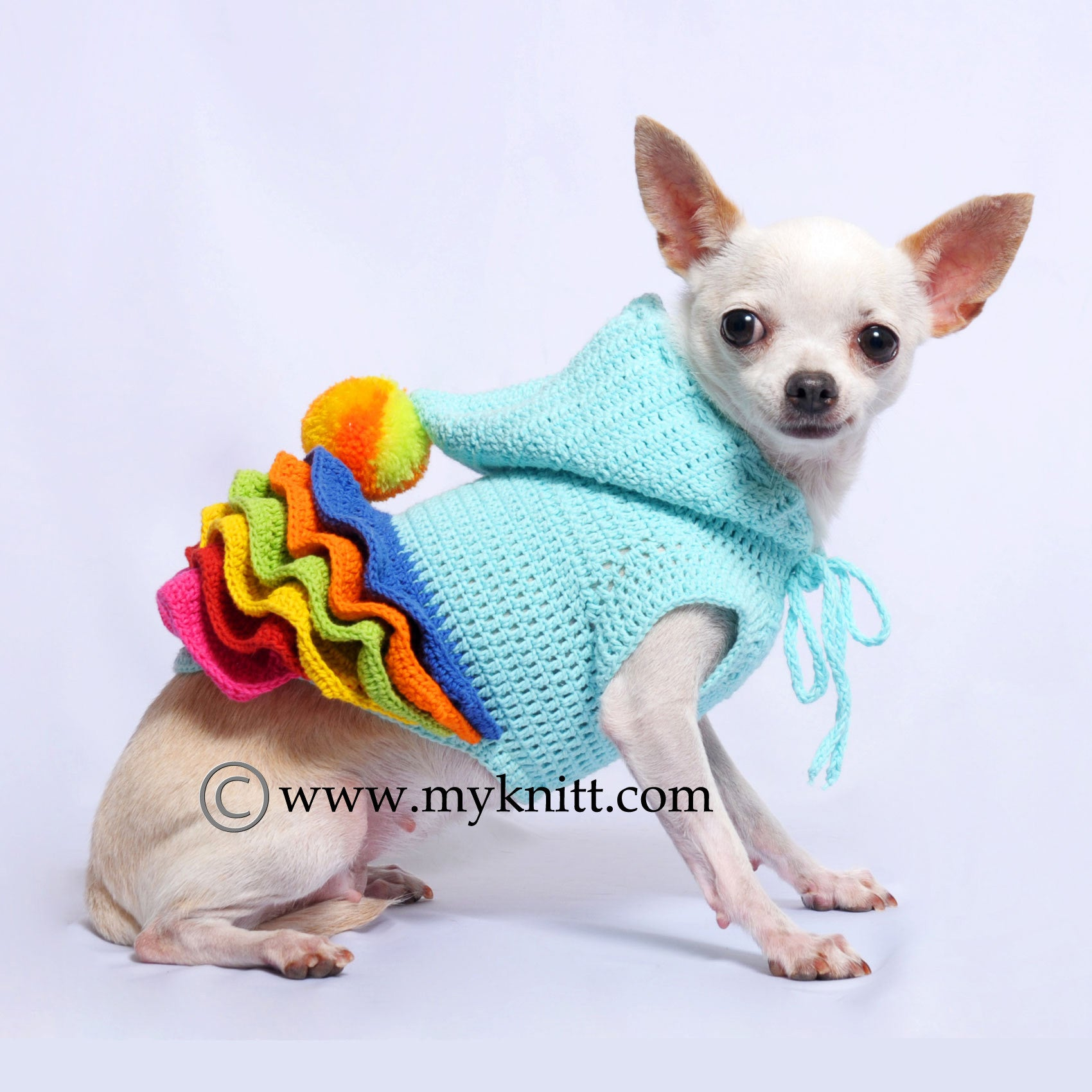 Cute Colorful Wavy Skirts Dog Hoodie with Pom-Pom Hand Crochet DF55 ...