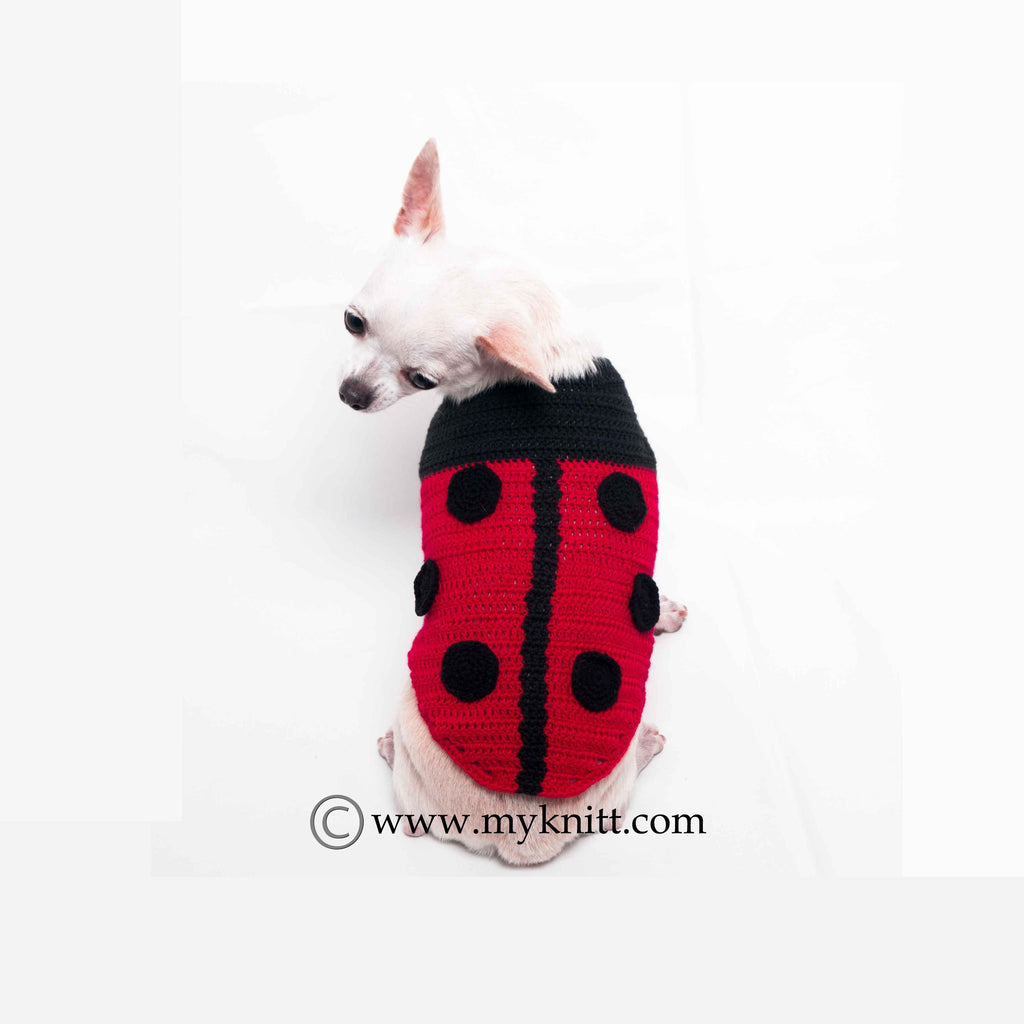Beetle Dog Costumes Cute 3D Handmade Crochet Black and Red Pet Clothes DF70