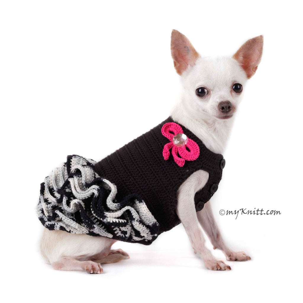 Black and White Dog Ruffle Dress with Cute Pink Bows Handmade Crocheted DF74