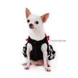 Black and White Dog Ruffle Dress with Cute Pink Bows DF74 by Myknitt (1)