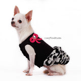 Black and White Dog Ruffle Dress with Cute Pink Bows DF74 by Myknitt (2)