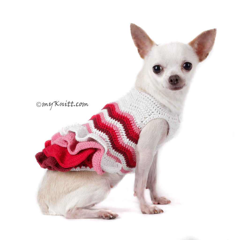 Pink Bohemian Dog Dress Ruffle Wavy Crochet DF75