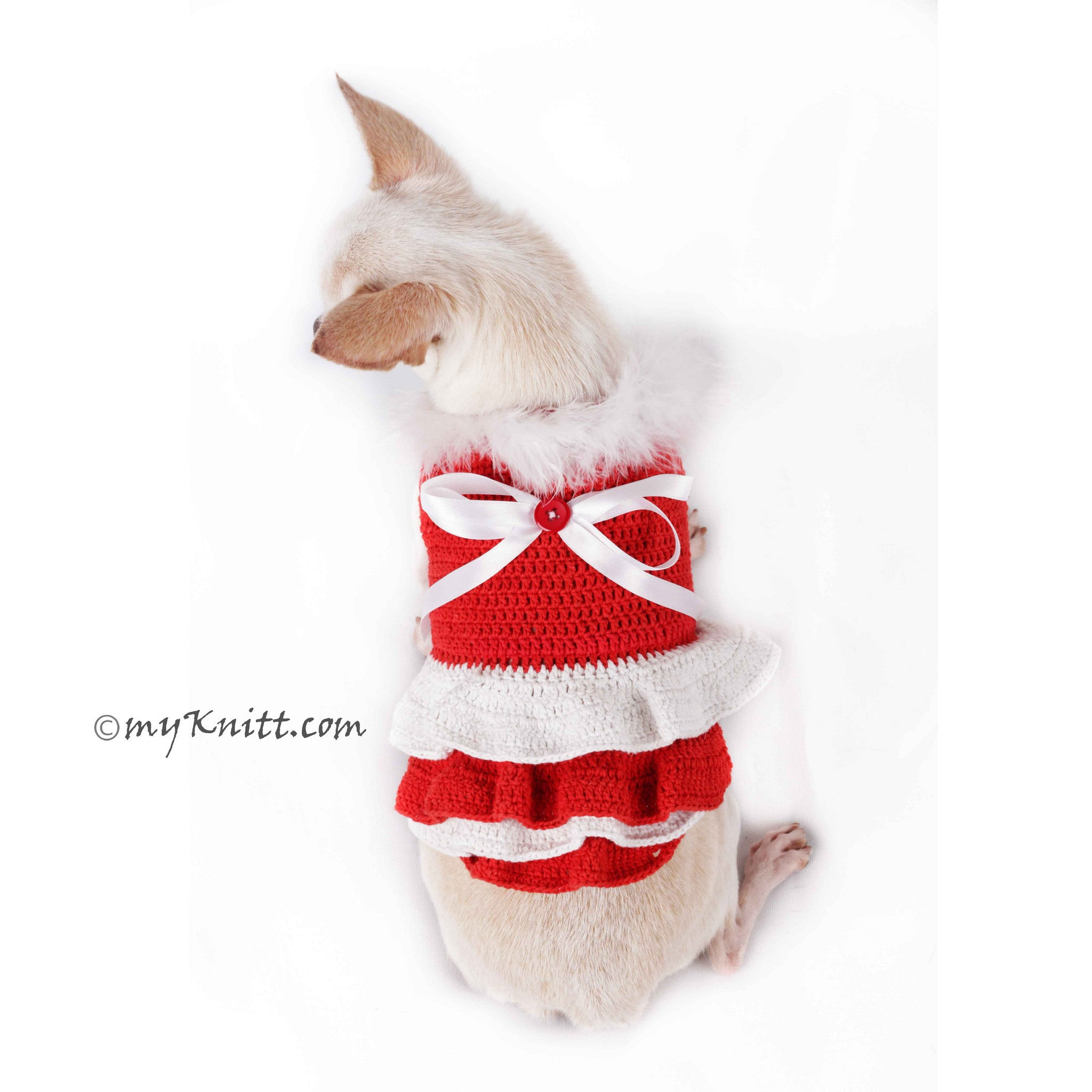 Red and White Fur Dog Dress Santa Girl For Christmas DF76 by Myknitt