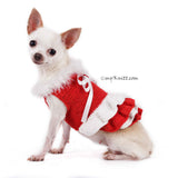 Red and White Fur Dog Dress Santa Girl For Christmas DF76 by Myknitt (3)