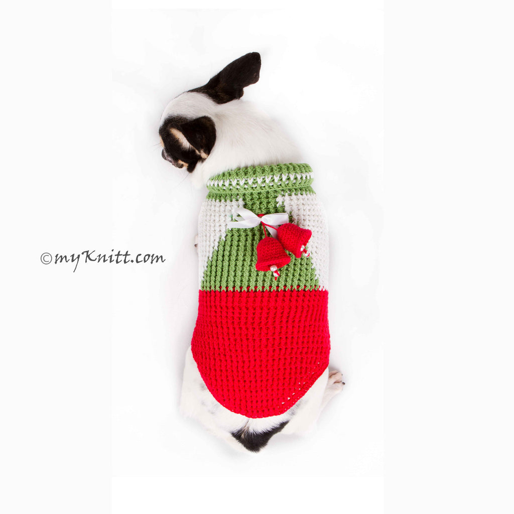 Jingle Bells Handmade Knitted Christmas Dog Sweater DF77