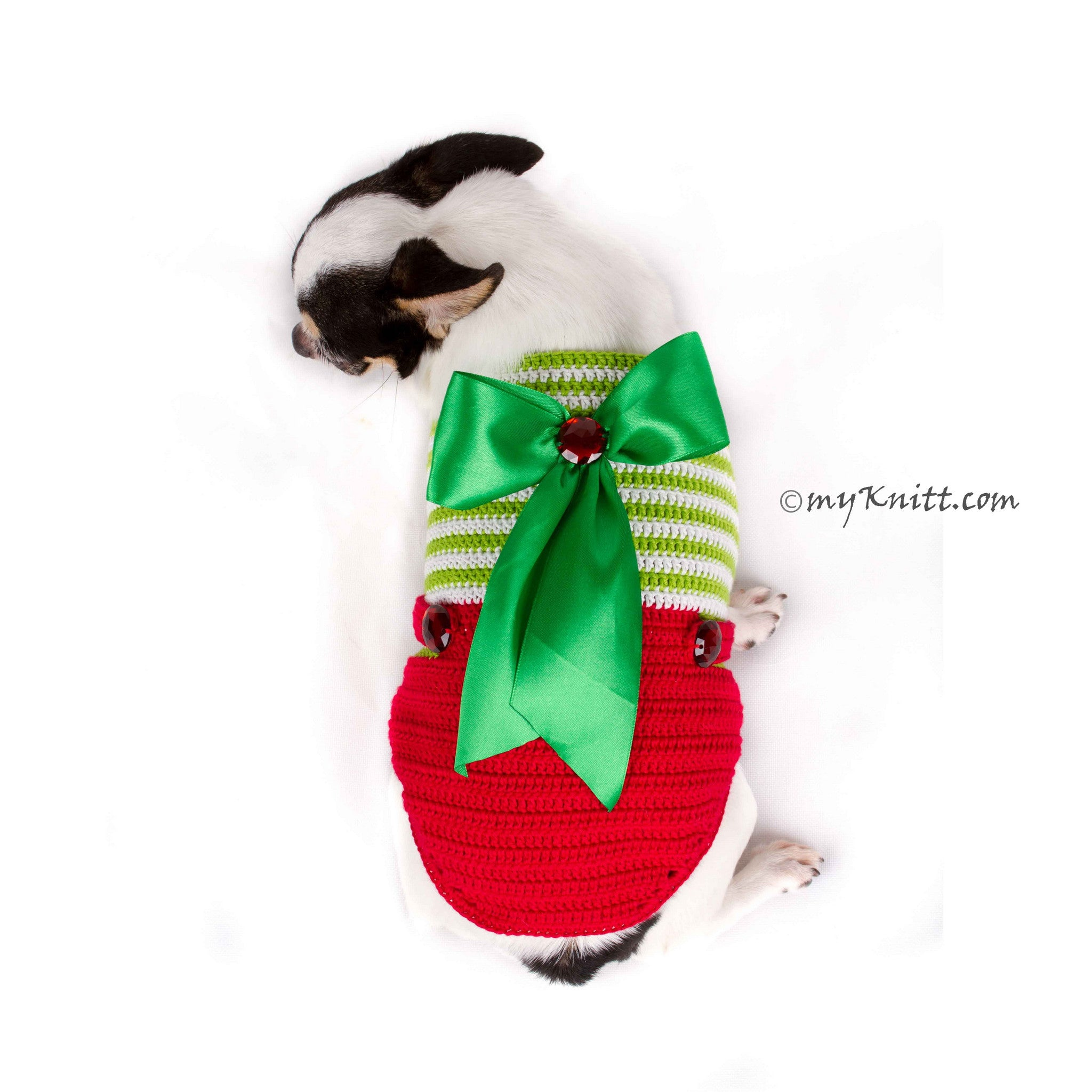 Christmas Overalls Dog Sweater with Big Bows DF78 by Myknitt