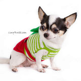 Christmas Overalls Dog Sweater with Big Bows DF78 by Myknitt (1)