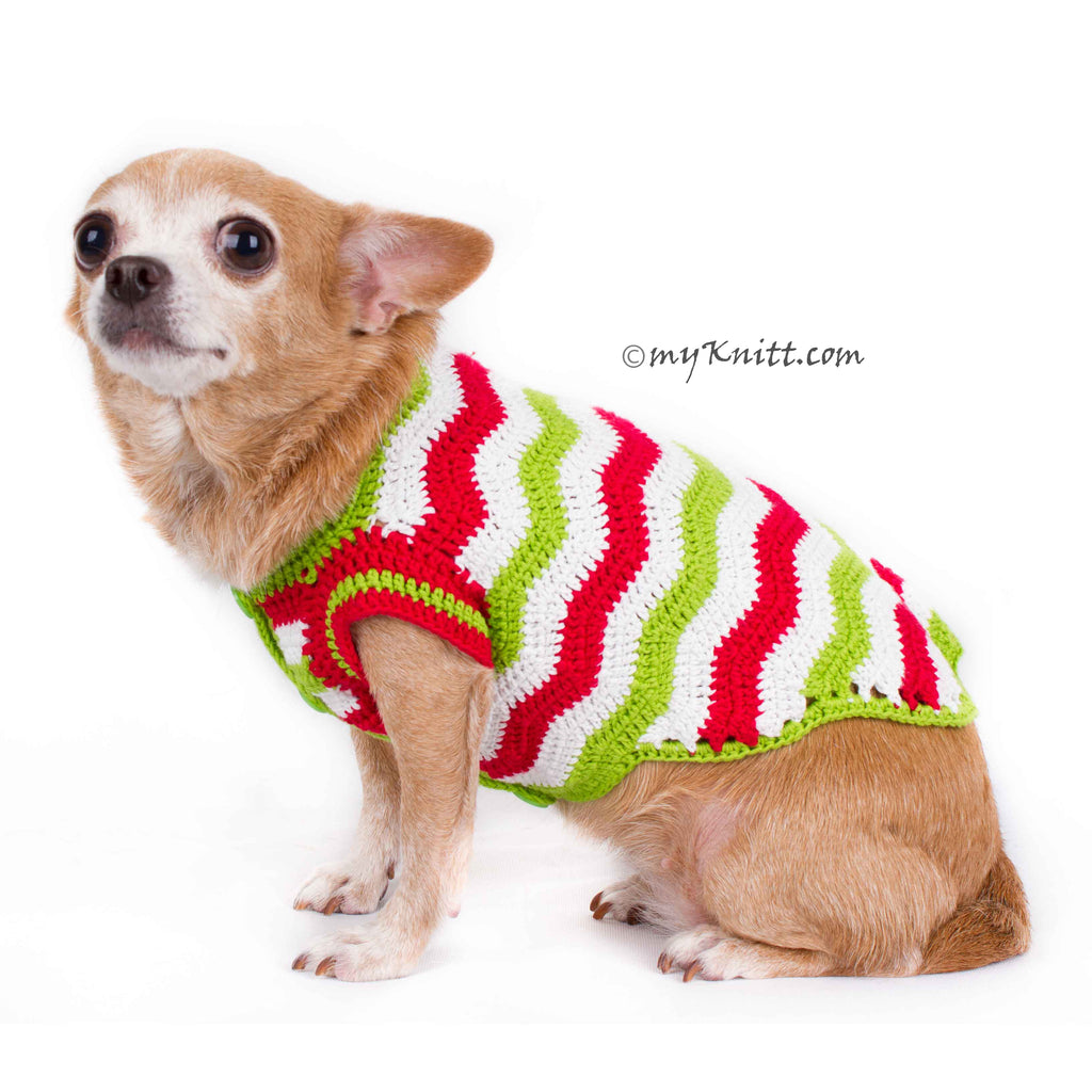 Casual Christmas Dog Clothes Red Green White Wavy Crochet DF79