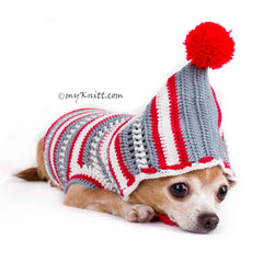 Christmas Dog Hoodie Cute Yorkshire Clothes for Holiday Season DF80 by Myknitt