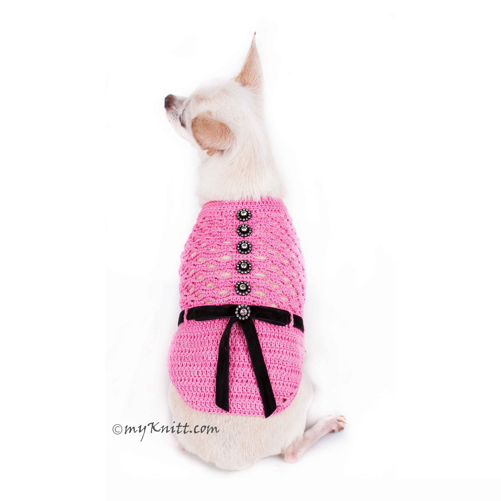 Beautiful Pink Dog Dress with Black Ribbon and Crystal Apparel DF84 by Myknitt