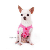Beautiful Pink Dog Dress with Black Ribbon and Crystal Apparel DF84 by Myknitt (1)