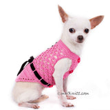 Beautiful Pink Dog Dress with Black Ribbon and Crystal Apparel DF84 by Myknitt (2)