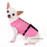 Beautiful Pink Dog Dress with Black Ribbon and Crystal Apparel DF84 by Myknitt (3)