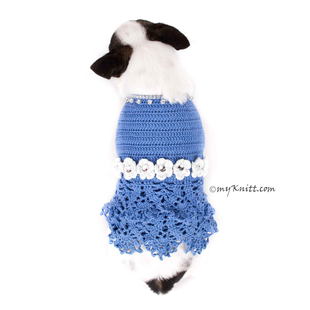 Blue Lace Crocheted Dog Dress With White Flowers Crystal DF85