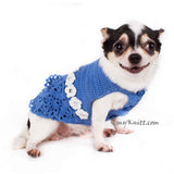 Blue Lace Crocheted Dog Dress With White Flowers Crystal DF85 by Myknitt (2)