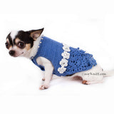 Blue Lace Crocheted Dog Dress With White Flowers Crystal DF85 by Myknitt (3)
