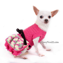 Beautiful Pink Dog Dress Black Ribbon Crocheted Ruffle Skirts DF86 by Myknitt