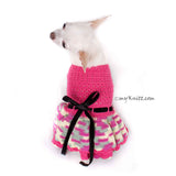 Beautiful Pink Dog Dress Black Ribbon Crocheted Ruffle Skirts DF86 by Myknitt (1)