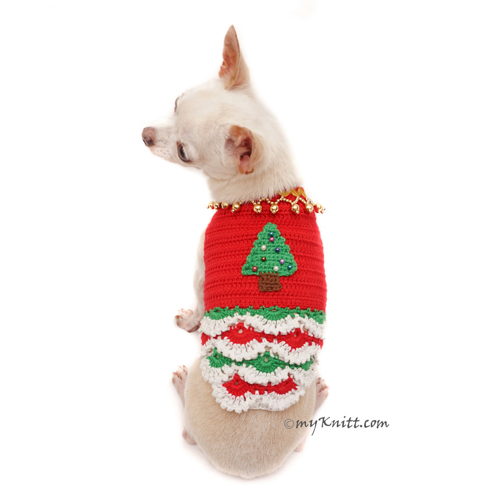 Christmas Tree Dog Dress Ruffle Crocheted Unique Pet Clothes DF88