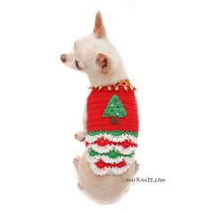 Christmas Tree Dog Dress Ruffle Crocheted Unique Pet Clothes DF88 by Myknitt