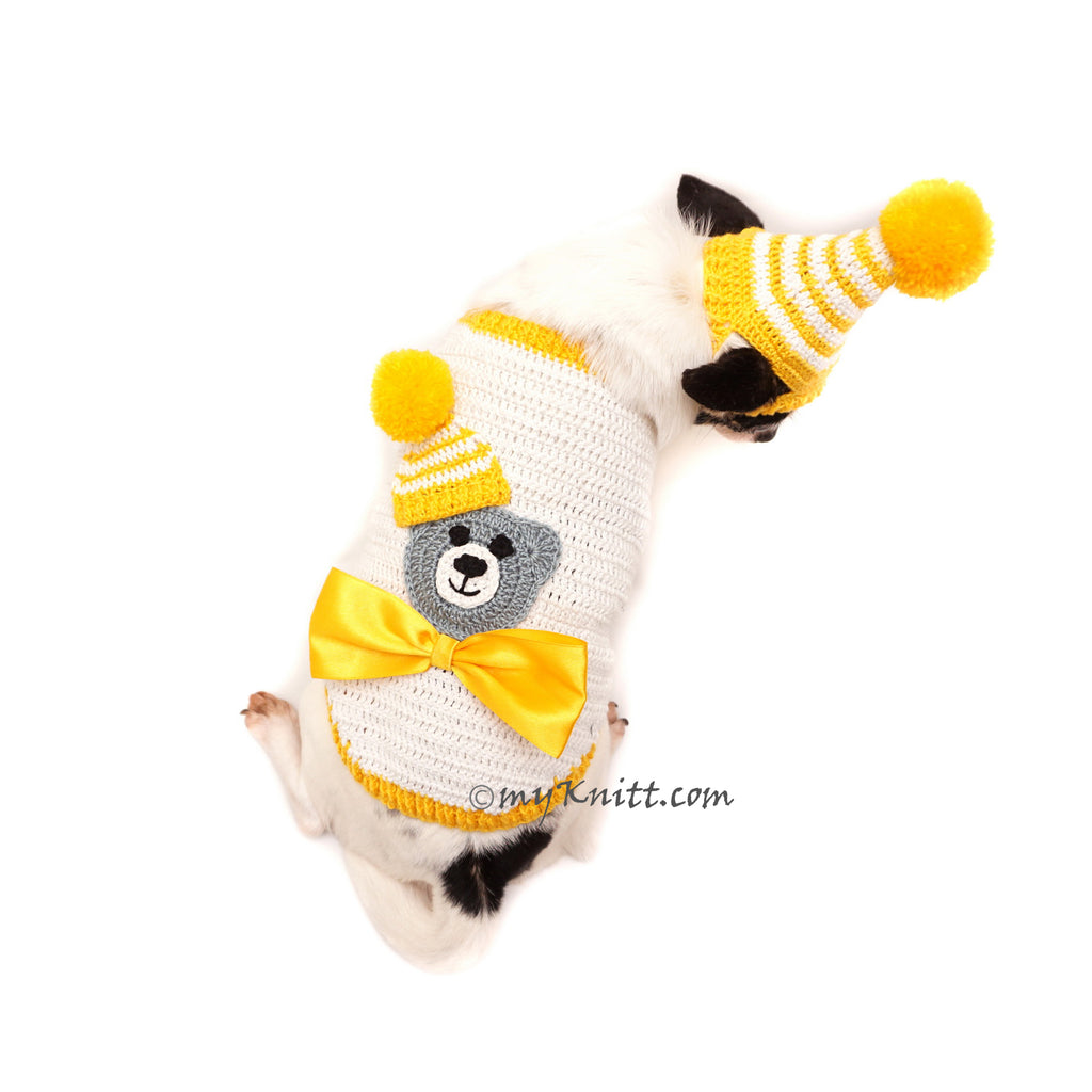 Teddy Bear Cute Amigurumi Dog Clothes with Pom Pom Hat Halloween DF89